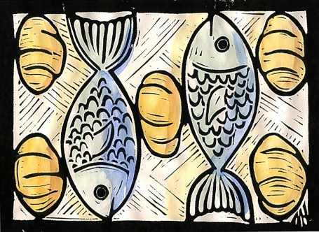 Feeding of the many. John 6:1-21. 1999 Mark A Hewitt. Lino cut & water colour.